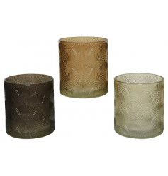 An assortment of 3 hurricane glass t-light holders with a stylish fan relief.