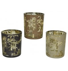 A mix of 3 luxury living glass t-light holders, each with a laser cut palm leaf design.