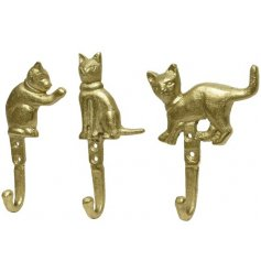 An assortment of 3 aluminium cat hooks. A stylish storage solution in 3 different designs.