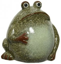 A richly coloured frog ornament for the home or garden. Richly glazed with a green speckled finish.