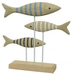 A chic decoration with three carved wooden fish. Each has a contemporary stripe design in blue and white colours.