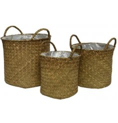 A set of 3 fully lined sea grass baskets. Handmade and beautifully woven with handles.