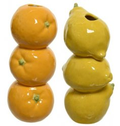 A fun and fruity mix of stoneware vases made from oranges and lemons.