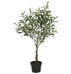 A beautiful artificial olive tree set within a black pot.