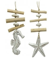 A mix of 2 natural wooden and driftwood hanging garlands in rustic seahorse and starfish designs.