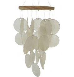 A stunning Capiz shell windchime with wooden frame. On trend and a must have for the home or garden.