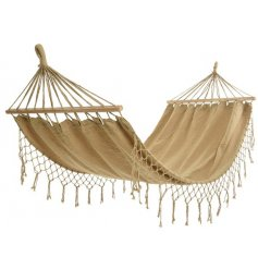 Relax in style with this natural coloured cotton hammock. Complete with stylish fringing and a birch bar.