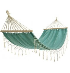 A colourful aqua coloured cotton hammock with natural fringing.