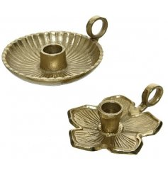 A mix of 2 beautiful candlestick holders with a luxurious gold finish.