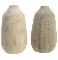 A mix of 2 beautiful handmade vases with a scratched, decorative finish in natural grey/brown hues.