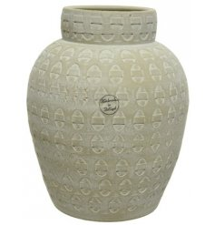 A stunning, classically shaped terracotta vase. Handmade with rustic detailing and a beautiful repeat pattern design.