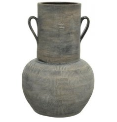 A stylish and simple terracotta vase in black. Complete with handles and a simple decorative pattern.