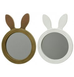 An assortment of 2 cute and unique bunny ear mirrors in brown and white colours.