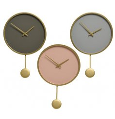 Nude, grey and taupe contemporary clocks with pendant and stylish gold detailing.