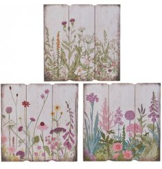 A mix of 3 rustic wooden boards with a beautiful wild flower design.