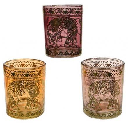 Elephant Henna Candle Holders