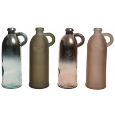 An assortment of 4 metallic and matt glass vases in beautiful grey, pink and brown hues.