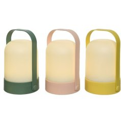 An assortment of 3 contemporary lanterns with carry handle. Each is framed with a stylish pastel colour