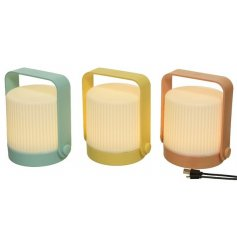 An assortment of 3 ribbed lanterns, each in a contemporary design with colour block handle and frame.