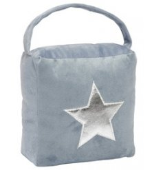 A chic and simple grey velvet doorstop complete with a shimmery silver star decal
