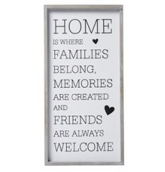 A tall standing wooden framed plaque, set with a bold text quote and heart feature