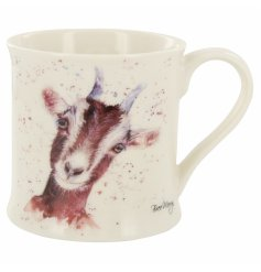 A quirky and different themed fine china mug decorated with a cute looking brown goat called Gideon