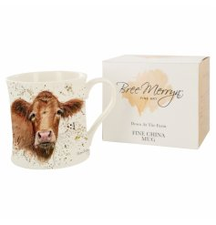 A beautiful and simple fine china mug decorated with a cute looking brown fluffy cow called Gertrude