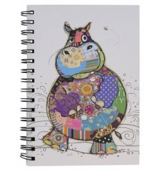 A small hardback note book complete with a quirky Harry The Hippo printed decal on the front
