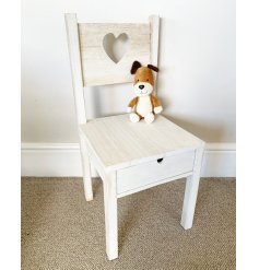 A small wooden chair with a practical pull out drawer for storing small toys, crayons and more.