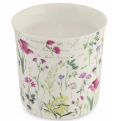 A delicately detailed floral candle pot complete with a sweetly scented fragrance and matching gift box