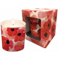 A delicately detailed red poppy candle pot complete with a sweetly scented fragrance and matching gift box