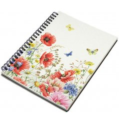 A delicately detailed poppy garden themed hardback notebook complete with a strudy metal spiral edge