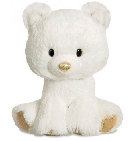 Charming soft toy polar bear with golden touches.
