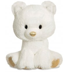 Snowy white cuddly polar bear with glitzy golden features.