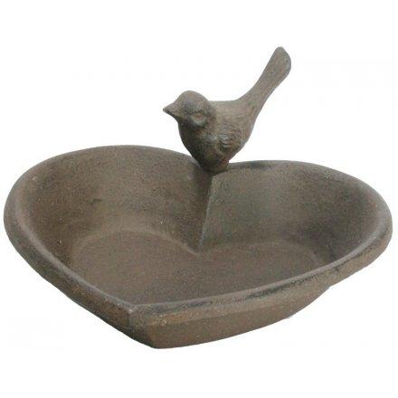 Cast Iron Heart Birdbath, 19cm