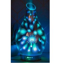 A gorgeous blue glowing Aroma Humidifier Lamp covered with a bright 3D sparkle effect to it