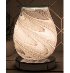 A glass based LED Oil burner covered with a trending grey and white marble inspired decal