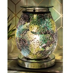 A stunning wax and oil burner lamp with a striking crackle display and blue and green glowing hue