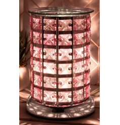 Illuminate your home with this gorgeously decorated Aroma Touch Lamp with an added pretty pink tone