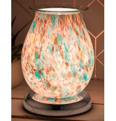 Decorated with a gorgeous multi colour inspired design, this warm glowing centred oil burner will be sure to place perfe