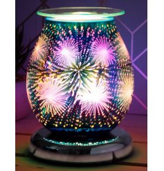 Decorated with a gorgeous multi colour 3D Star Burst effect, this warm glowing centred oil burner will be sure to place