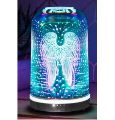 A dome shaped Humidifier Lamp complete with a gorgeous blue and purple glowing hue and sweet angel wing decal