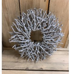 Make a statement with this stunning natural twig wreath with a grey washed finish.