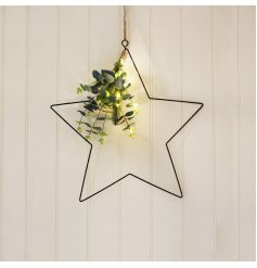 A beautiful and simple black wire star hanging decoration perfectly decorated with warm glowing LED lights