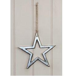 A simplistic silver toned hanging aluminimum star