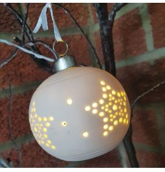 this star cut bauble in a white tone will be sure to hang perfectly on any Christmas Tree