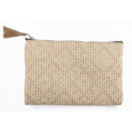Natural Woven Zip Bag, 24cm