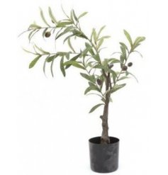 A charmingly simple potted artificial olive tree with a realistic feature