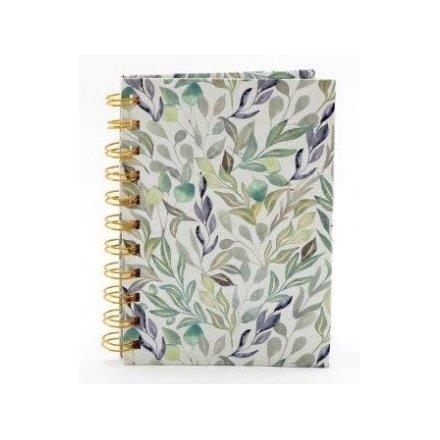 Green Leaf Printed Notebook, A6