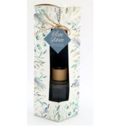 Sure to bring a delightful fragrance to any space of the home, a small but strong diffuser with a delightful Olive Grove